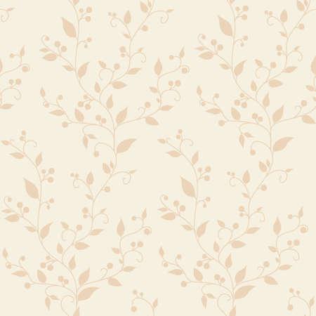 葉と果実を持つ花のベクトル ビンテージ シームレスなパターン  イラスト・ベクター素材