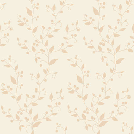 Floral vector vintage seamless pattern with leaves and berries