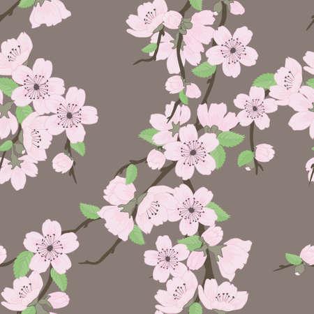 cerezos en flor: Beautiful vector patrón sin fisuras con flores y hojas de sakura Vectores