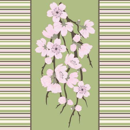 Beautiful vector seamless pattern with sakura branch and stripes Vector