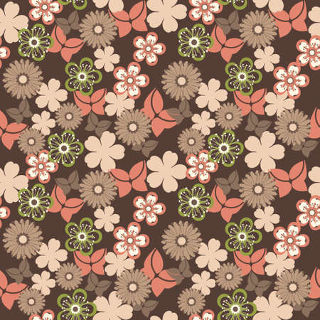 beautiful seamless pattern with flowers and butterflies Vector