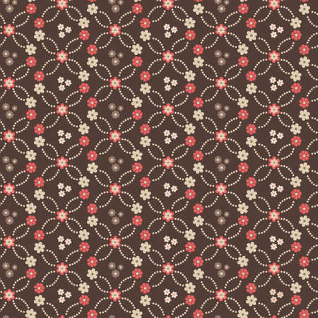 Seamless vector textile floral background with red flowers Vector