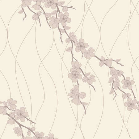 japanese garden: Beautiful vector seamless pattern with sakura flowers and lines Illustration
