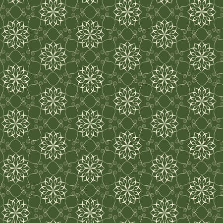 Elegant lace vector pattern, beige on green Vector