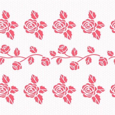 Elegant lace pink vector pattern with roses