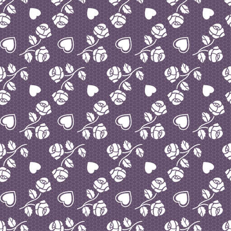 Elegant lace violet vector pattern with roses and hearts Vector