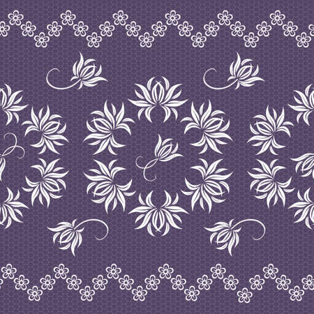 Elegant lace pink vector pattern with flowers