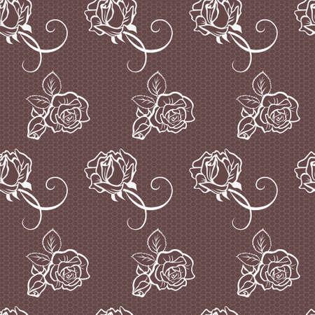 Élégant modèle vectoriel dentelle rose avec de belles roses