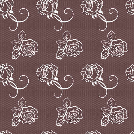 Elegant lace pink vector pattern with beautiful roses Vector