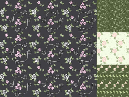Beautiful vector seamless patterns with hearts and roses Vector
