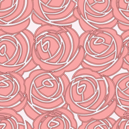 Beautiful seamless vector pink pattern with roses Vector