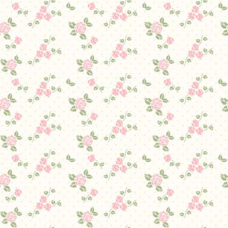 心とバラをベクトル春穏やかなシームレス パターン  イラスト・ベクター素材
