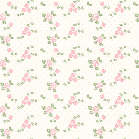 seamless vintage floral pattern: Vector spring gentle seamless pattern with hearts and roses