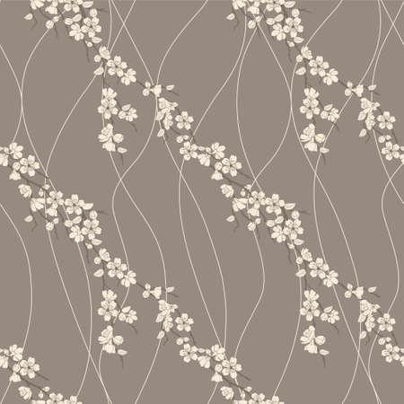 桜の花とラインで美しいベクトル シームレスなパターン  イラスト・ベクター素材