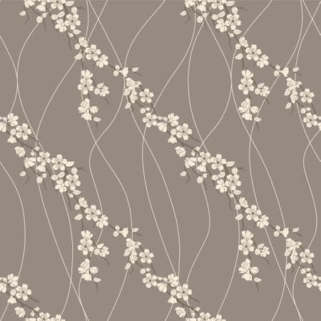 Beautiful vector seamless pattern with sakura flowers and lines Stock Vector - 12497498