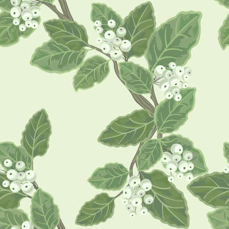 Seamless vector floral pattern with branch and berries Illustration