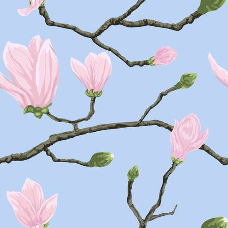 magnolia tree: Seamless vector pattern with magnolia flowers on branch Illustration