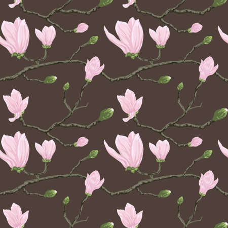 Seamless vector pattern with magnolia flowers on branch