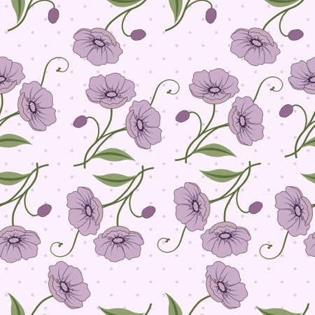 すみれ色の花を持つエレガントなシームレスなベクター パターン  イラスト・ベクター素材