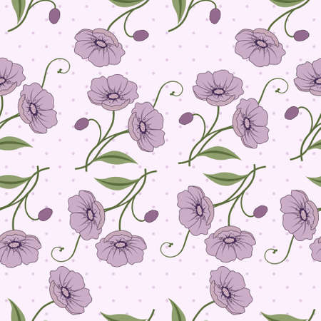 buttercup flower: Elegant seamless vector pattern with violet flowers Illustration