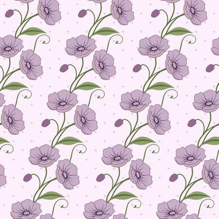 Elegant seamless vector pattern with violet flowers Stock Vector - 12805246