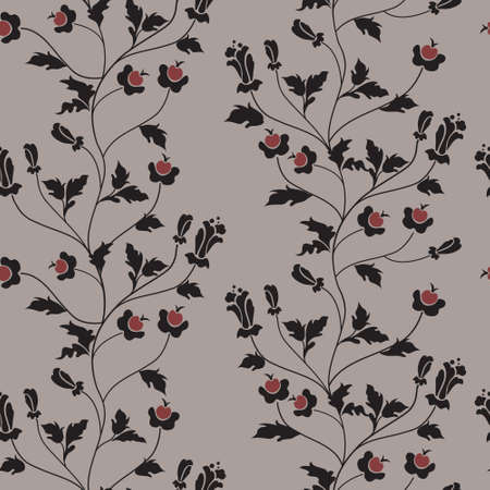 ornamental design: Vector seamless floral background with berries and flowers
