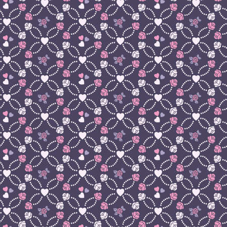 Cute vector seamless pattern with hearts and roses Vector