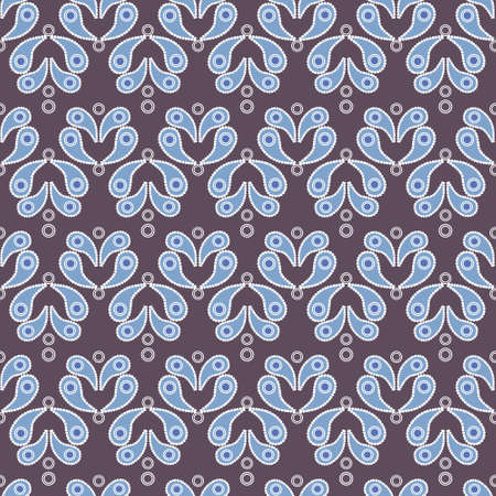 old paper texture: Vector vintage seamless background with blue paisley pattern