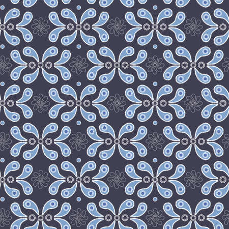 Vector vintage seamless background with blue paisley pattern Vector