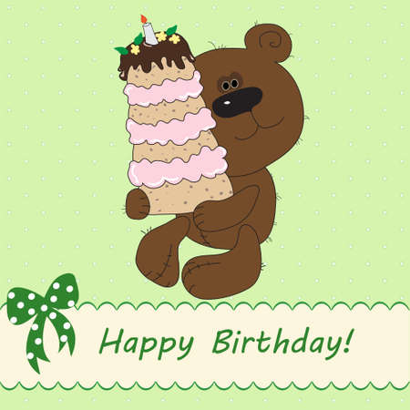 Vector illustration of cute bear bringing birthday cake Vector