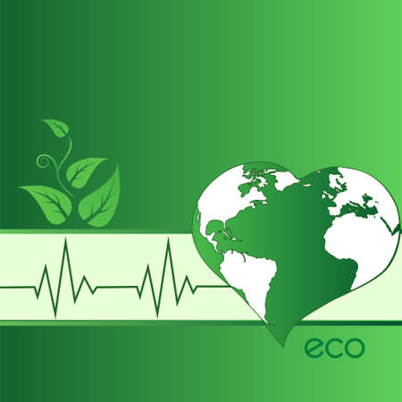 Vector illustration of eco green heart-shaped Earth
