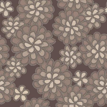 切欠きを有する褐色の花を持つベクトル レース花柄  イラスト・ベクター素材