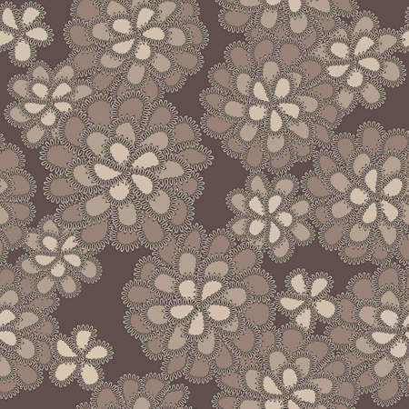 embroidery on fabric: Vector lace floral pattern with notched brown flowers