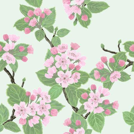 開花のりんごの木とシームレスなベクターの花柄のパターン