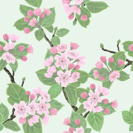 Seamless vector floral pattern with flowering apple tree Vector