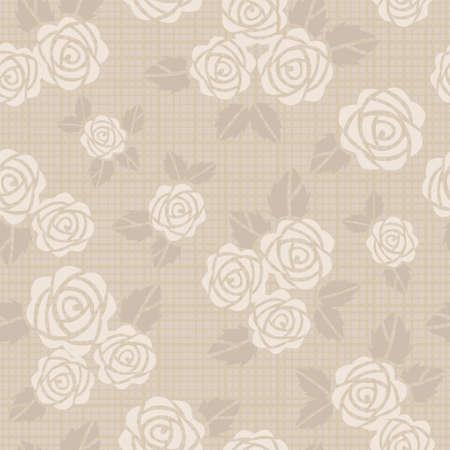 ベージュ色のバラの美しいシームレスなベクトルの背景
