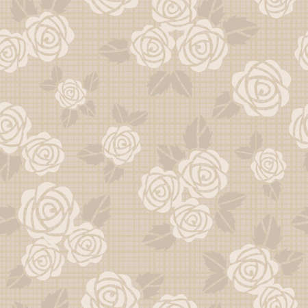 Beautiful seamless vector background with beige roses