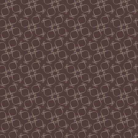 Elegant swirl vector pattern, white on brown Vector