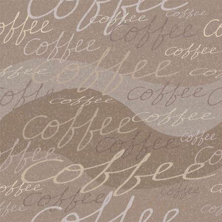コーヒーの碑文と汚れたシームレスなパターン
