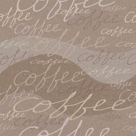 grungy seamless pattern with coffee inscriptions