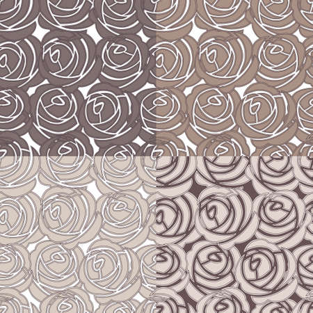 modern garden: Set of beautiful seamless rose patterns Illustration