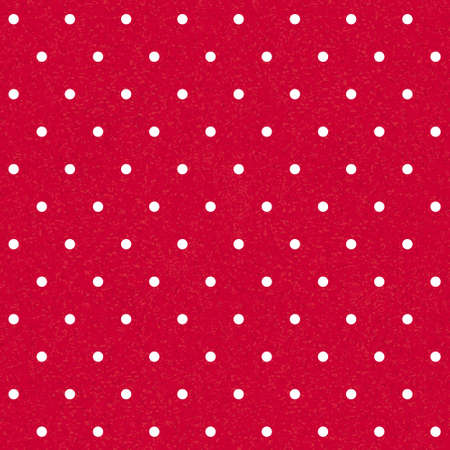 seamless red polka-dotted background with white dots Vector