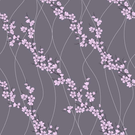 Beautiful seamless pattern with sakura flowers and lines Vector