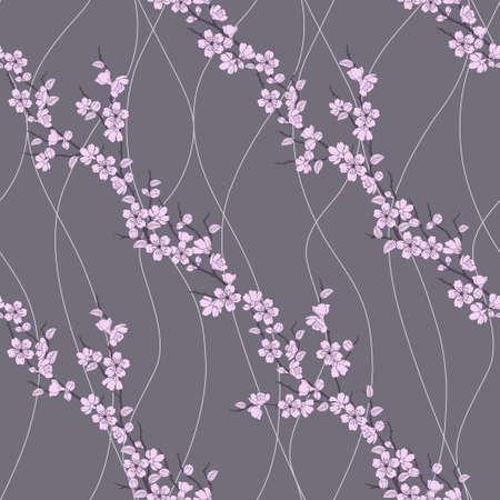 fleur cerisier: Belle seamless fleurs de Sakura et de lignes