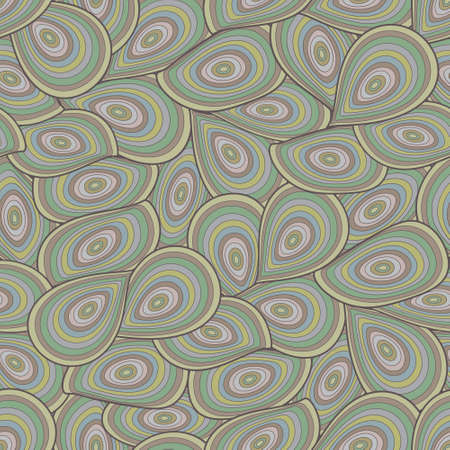 Seamless peacock feather pattern in pastel colors Vector