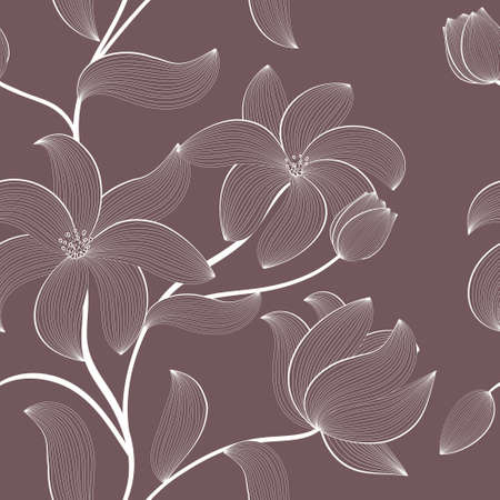 floral seamless pattern with hand-drawn flowers Vector