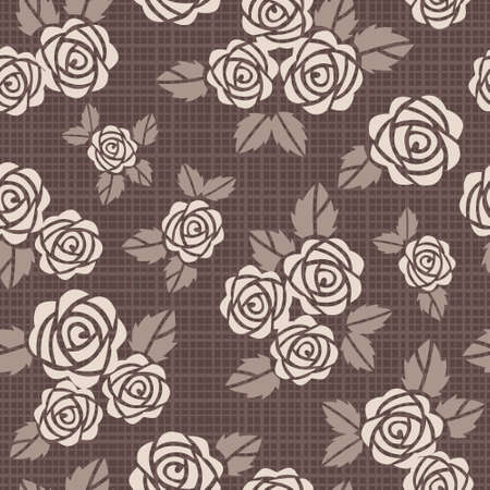 Beautiful seamless  background with beige roses Vector