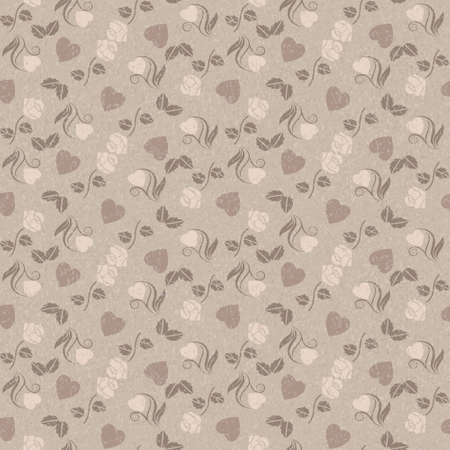roses and hearts: Romantic grungy seamless pattern with hearts and roses Illustration