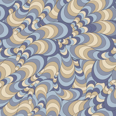 Vector seamless abstract wavy pattern with swirls Vector