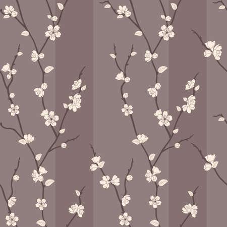 桜の枝を持つ美しいベクトル シームレスなパターン  イラスト・ベクター素材